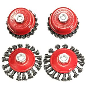 4pcs Twisted Steel Wire Wire Semi Flat Brush Wire Cup Brush Set With Nut Kit For Angle Grinder -
