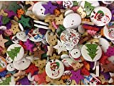 Bead and Button Company Pack of 50g Mixed Christmas Buttons-Assorted Sizes, Shapes and Colours