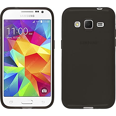 Funda de silicona para Samsung Galaxy Core Prime - transparente negro - Cover PhoneNatic Cubierta + protector de pantalla