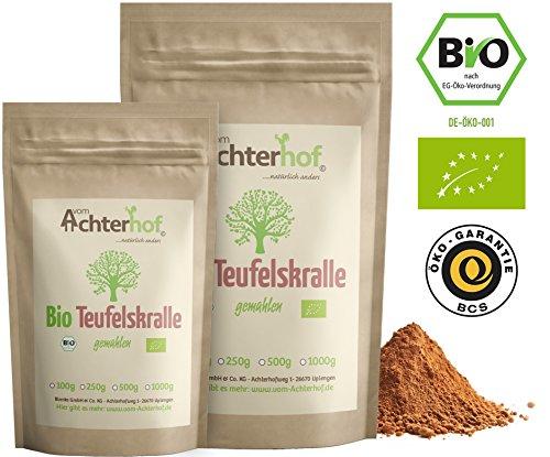 Bio-hund Tee (Teufelskralle gemahlen Bio (250g) für Mensch Pferd Hund 100% reines Teufelskrallenwurzel Pulver)