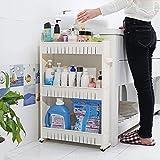 #9: Panzl Slim Slide Out Kitchen Trolley Rack Holder Storage Shelf Organiser Moving Wall Cabinets Tower Holder Rack on Wheels 3 Layer