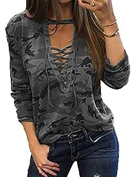 Scothen Atractivo de las señoras camiseta remata la blusa Shell V-cuello manga larga cuello redondo manchado transpirable...