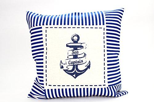 Kissenbezug Raik 40x40cm Kissenhülle maritim Anker Sea Captain Sommer blau weiß gestreift Leinen Leinenoptik Dekokissen