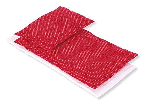Pinolino 28584-5 Bettzeug für Puppenbetten, 3-teilig, pünktchen rot