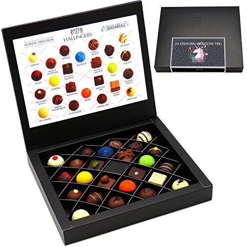 Hallingers Pralinen-Geschenk 24 Einhorn-Wünsche Frei - 24 Pralinen feinster Schokolade, z.B. für Muttertag, Vatertag, Valentinstag, Geburtstag, Danke | FirstClass-Box | 300g