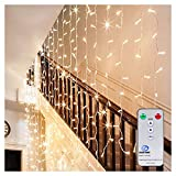 Ollny LED Window Curtain String Lights Icicle Fairy Decorative Lights for Wedding Xmas Christmas Outdoor Home Party Garden Decorations with Remote & Timer Warm White Lights 306 LEDs 3m*3m(Low Voltage)