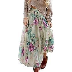 Verano Falda para Mujeres - Moda Cintura Alta Boho Skirt con Floral Patrón Cintura Elástica Plisada Acampanada Larga Falda para Playa Vacación Talla Grande