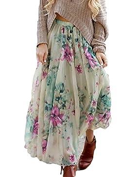 Verano Falda para Mujeres - Moda Cintura Alta Boho Skirt con Floral Patrón  Cintura Elástica Plisada 01c02c0ea1f4