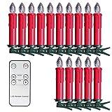 SunJas 30er Rot Weinachten Kerzen Weihnachtsbeleuchtung Weihnachtskerzen mit Fernbedienung kabellos Weihnachtsbaumkerzen 10/20/30/40er