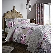 patchwork floral rosa beige mezcla de algodn funda de edredn colcha individual