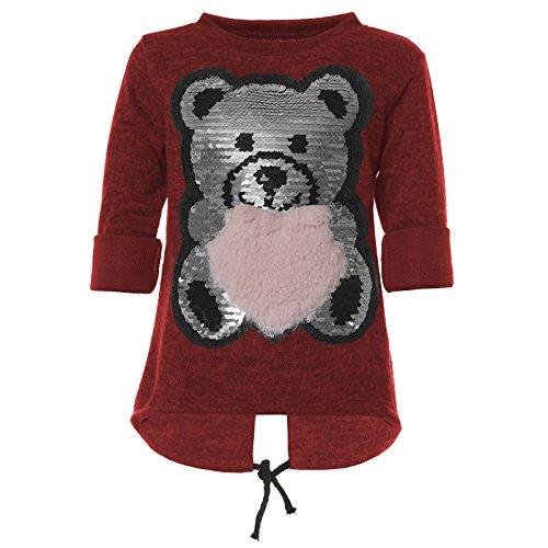 BEZLIT Mädchen Pullover Wende-Pailletten Pulli Sweatshirt 21570 Rot Größe 152