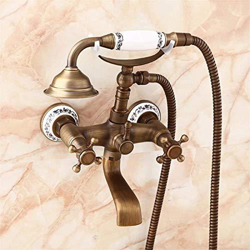KGDNM All-Kupfer Antique Shower Telefon Dusche Dusche Dusche Dusche Handbrause Europäische Dusche Doppelgriff Dual Control,Ein