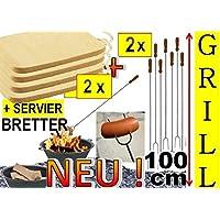 2 x 100 cm grande barbecue Spiedini + 2 x legno spazio piatto, tagliere 27 x 15 cm con manico in acciaio inox, falò-spiedini di salsiccia, spiedi, verdure grigliate, ideale per grill un'ampia, Giardino festa, compleanno, Outdoor, per fuoco ciotola, fuoco cestini, picnic barbecue, picnic-barbecue, Giardino forni, grill camino, si può usare anche, set da, lunga barbecue forchetta, spiefini, spiedini, posate, forchetta e paletta, grill posate, Grill Spatola, spiedi per barbecue