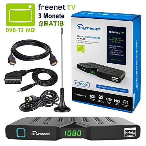 HB DIGITAL DVB-T/T2 Set: Skymaster DTR5000 DVB-T/T2 Receiver, kartenloses Irdeto-Zugangssystem für freenet TV + Stabantenne, passiv, mit Magnetfuß (Full HD, HEVC/H.265, HDTV, HDMI, USB DVBT2 DVB-T2) (Usb-hd Antenne)