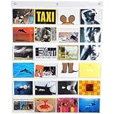 HAB & GUT (DV009) Fotovorhang, transparenter Taschenvorhang mit 24 Taschen, Querformat, Taschengröße 10 cm x 15,5 cm, Länge 79 cm x Breite 63 cm