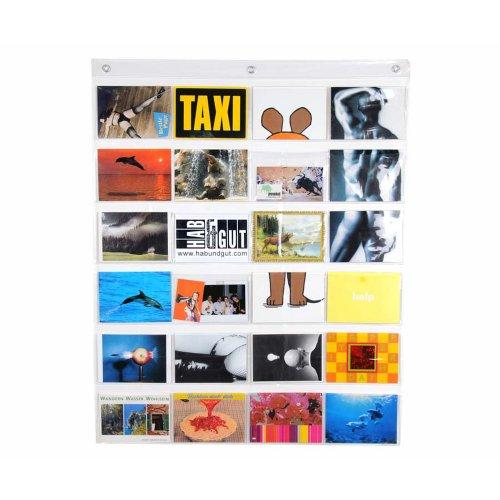 HAB & GUT -DV009- Fotovorhang, transparenter Taschenvorhang mit 24 Taschen, Querformat, Taschengröße 10 cm x 15,5 cm, Länge 79 cm x Breite 63 cm