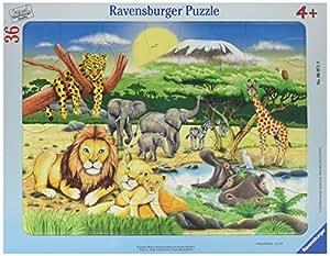 Ravensburger - 06071 - Puzzle Enfant avec Cadre - Animaux D'afrique - 36 Pièces