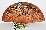 AAF Nommel ® Echter chinesischer Handfächer aus Bambus 073 mit Blumen, auch sehr schön als Deko Fächer
