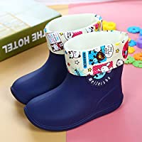 Unisex Kids,Classic Rainy Season welington Boots Kids Cute Shoes Infant Children Baby Cartoon Dark Blue PVC Elephant Non-Slip Rubber Waterproof Warm Boots Rain Shoes
