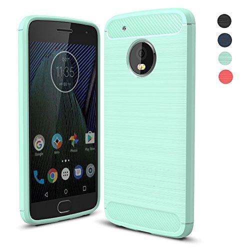 Funda Lenovo Moto G5 Plus, Amytech Negro Silicona Fundas para Motorola Moto G5 Plus Carcasa (5,2 Pulgadas) Fibra de Carbono Funda Case (Menta verde)