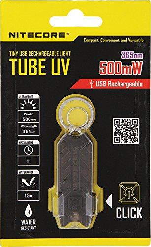 Nitecore Tube UV - Schlüsselanhänger mit UV-Licht, Integrierter Akku, Aufladbar über USB (Uv-led-tube)