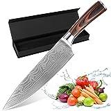 TTMOW Cuchillo Chef Profesional Acero Inoxidable de 7Cr17 para Carnes Fruta Verdura, Cuchillo Cocinero Mango Ergonómico y Comodo para la Cocina de Casa o Restaurante, Hoja DE 20.5 cm