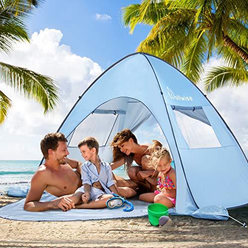 WolfWise UV-Schutz 50+ Pop up Strandmuschel Extra Light Automatisches Strandzelt mit Ausziehbarer Boden Familien Portable Baby Beach Zelt in Outdoor Tragbar Wurfzelt