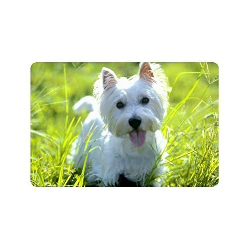 Vidmkeo West Highland Terrier Dog Puppy Non-Woven Fabric Top Doormat,Indoor/Outdoor Floor Mat...