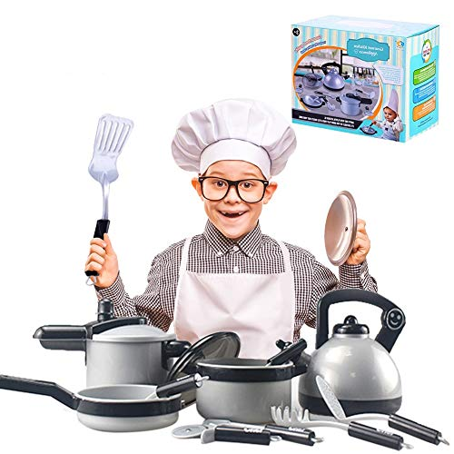 Waroomss 10 Stück Geschirr Spielzeug, Pretend Play Küche spielen Essen Töpfe und Pfannen und Tea Party Set Küche Vorgeben Kochen Kochgeschirr Spielset für Kinder (Play Und Set Topf Pfanne)