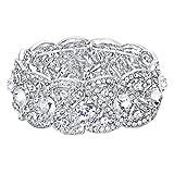 Ever Faith österreichischen Kristall Hochzeit Stretch Armband klar - Silber-Tone N02751-1