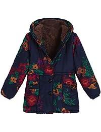 Damark Abrigos Abrigo de Invierno Capucha para Mujer, Estampado Floral con Capucha Cremallera CáORigan Blusa