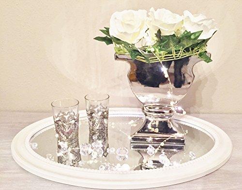 DRULINE Keramik Vase Silber Hochglanz Blumenvase Dekovase Tischvase Shabby Chic (Silber Vasen)