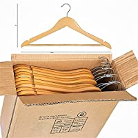 ARIANA HOMEWARE® PACK OF 20 Wooden Clothes Hangers Wardrobe Garment Hanger Multifunctional High-Grade Solid Wood Suit Cloth Hangers Trouser Bar Natural Finished Coat Hanger
