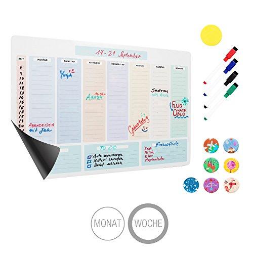 Amazy magnetischer Wochenkalender inkl. 4 Marker, 7 Magnete und Radierer – Abwischbares Whiteboard für eine organisierte Woche (Wöchentlich)
