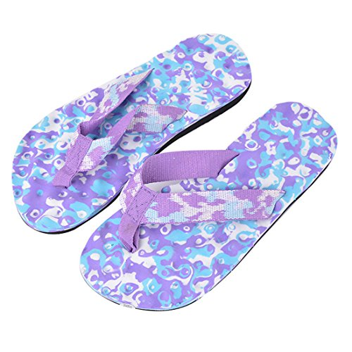 Vertvie Unisex Erwachsene Sommer Camouflage Flip Flops Schuhe Sandalen Slipper Indoor Outdoor Zehentrenner Lila