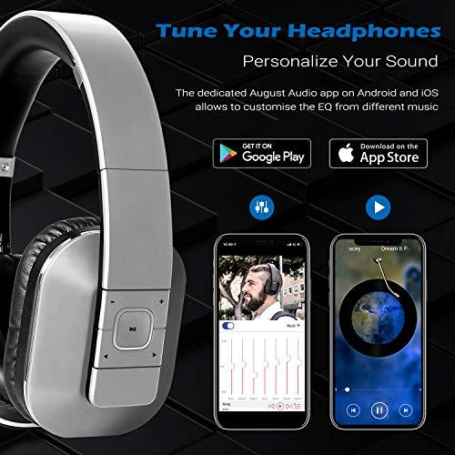 August EP650 Bluetooth v4.2 NFC Kopfhörer mit aptX Low Latency – Kabellose Over-Ear Headphones mit individuellem Sound (silber) - 2