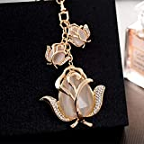 MMD Porte-clés Pendentif Cadeaux créatifs Fleur Tulipe Sac Femme Pendentif Porte-clés (Couleur : Beige)