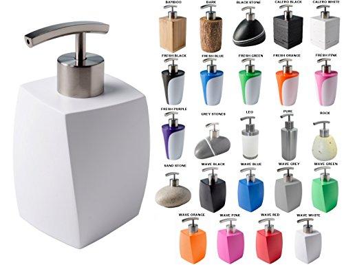 Seifenspender, viele schöne Seifenspender zur Auswahl, hochwertige und stabile Qualität mit Edelstahlpumpe, modernes Design (Wave White)