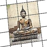 creatisto Fliesenmuster Deko-Folie | Fliesen-Folie Sticker Aufkleber Selbstklebend Badezimmer renovieren Küche Dekoration Küche | 20x25 cm Design Motiv Relaxing Buddha - 9 Stück