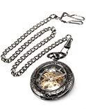 AMPM24 Steampunk Skeleton Mechanical Copper Fob Retro Pendant Pocket Watch + AMPM24 Gift Box WPK164 Bild 4