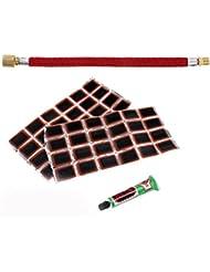 MagiDeal Set Tuyau d'Extension de Pompe à Vélo 16,5 cm + 48pcs Rustines Caoutchouc à la Perforation Pneu avec Colle