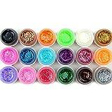 Coscelia 18 Farben Farbgele mit Pailette UV Nageldesign Gel Polish Glitter Gellack Set