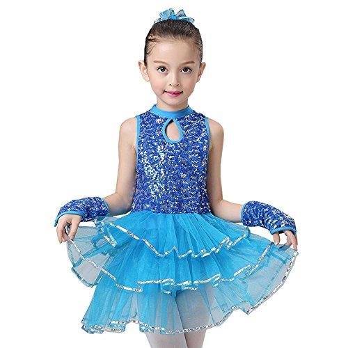 YI WORLD Mädchen Ballett Lateinischer Tanz Kleidung Kind Gymnastik Jazz Kleid Polyester Rosa blau , blue , (Kostüme Paprika Erwachsene)