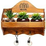 """MyGift País rústico """"Mosel montado en la pared madera pared maceta rack/estante/estante de almacenamiento w/2ganchos para llaves"""