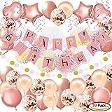 YINVA 59Pack Geburtstagsdeko, Geburtstag Dekoration, Happy Birthday Girlande, Geburtstag Party Dekorationen Set für Mädchen und Frauen,Einschließlich Alles Gute ZUM Geburtstag Banner