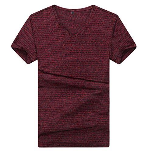 Männlich Sommer Losen T-Shirts Einfach Und Elegant Groß V-Ausschnitt Gestreift Kurzarm-T-Shirt Red