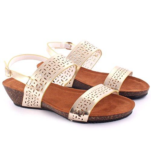 Unze New Women 'Mars' Laser Cut Sandales Wedge Summer Beach School Carnaval Casual Chaussons Pantoufles Taille UK 3-8 Or