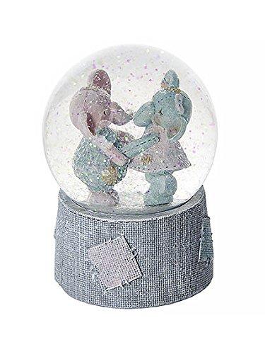 Elefanten Schneekugel mit Musik ideal zur Babyshower Taufe Geburt Geburtstag - Baby Mädchen Geschenk Taufe Boy Music Box