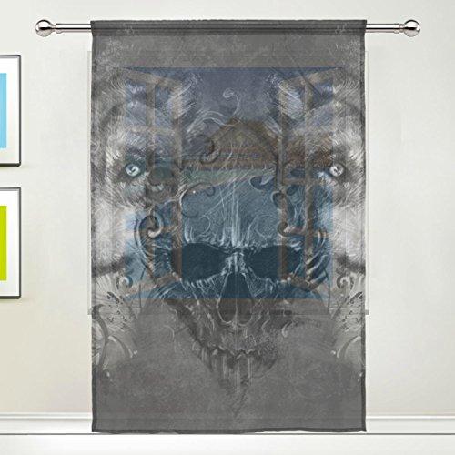 jstel Totenkopf Wolf Muster Floral Print Tüll Voile Tür Fenster Zimmer Sheer Vorhang Tuch 1Panel Schal Volants breit Breite Gaze Vorhang für Schlafzimmer 139,7x 198,1cm, Single Panel, Polyester, 55 x 78 Inch