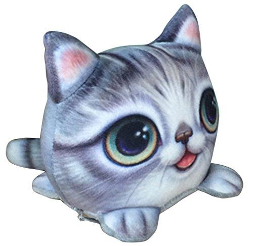 BELLA-Gatto Portamonete Donna Carino Piccolo Portafoglio 11*11cm Grigio Grigio